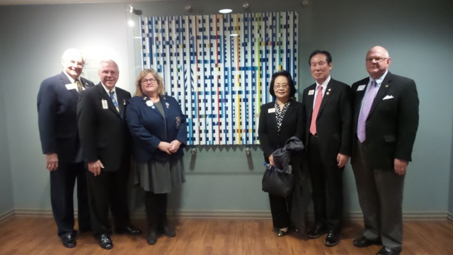 L to R:  PID Lowell Bonds, PDG Barry Elliott, CC Dora Hartsock, Seong-Bok Yang, Second Vice President Jung-Yul Choi and ALS Executive Director Durden Dean visiting the Lions Eye Clinic