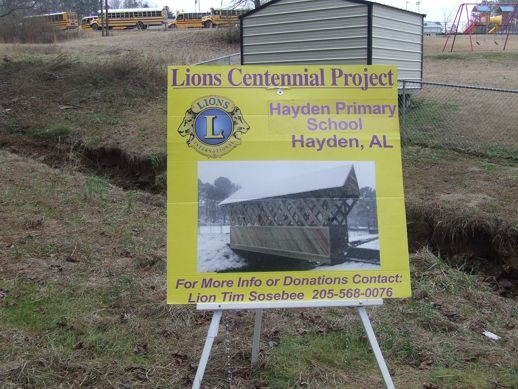 Second VP Choi visited Hayden Lions Club on Saturday at the site of the their Centennial Project - a replica of a covered bridge. A 100 year time capsule is also being prepared.
