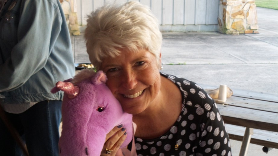 Donna Townsend after horsing around  the pavilion with her unicorn!